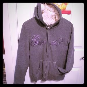 Womens Large Guess hoodie gray furry soft inside